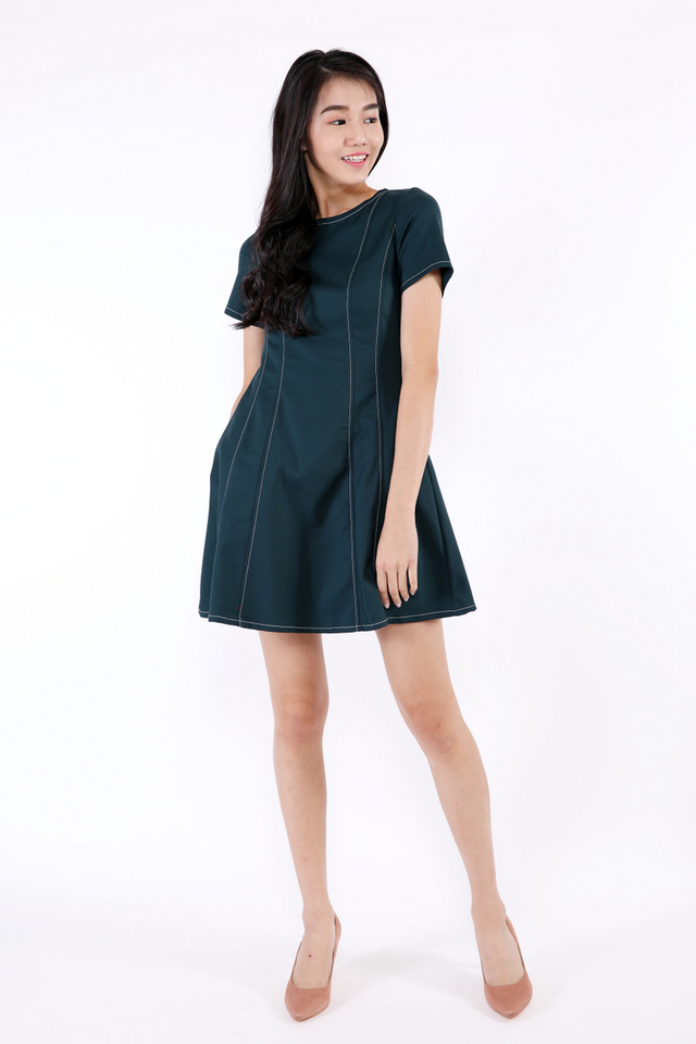 Stacey Stitch Lines Sleeved Dress (Forest Green)