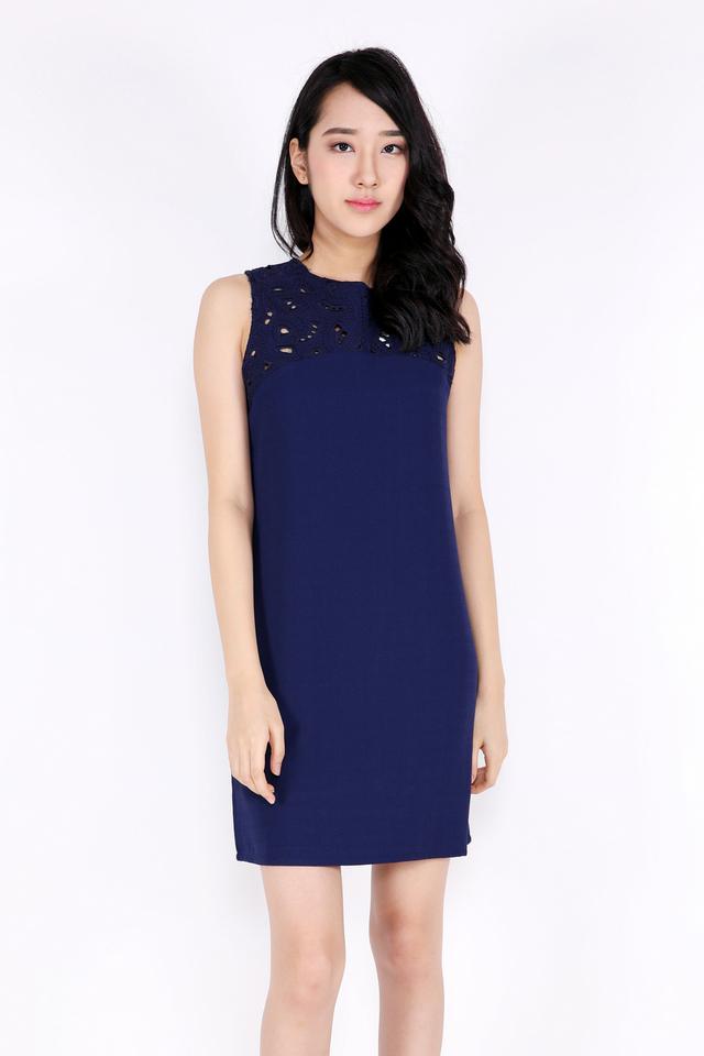 Amaris Laser Cut Shift Dress (Navy Blue)