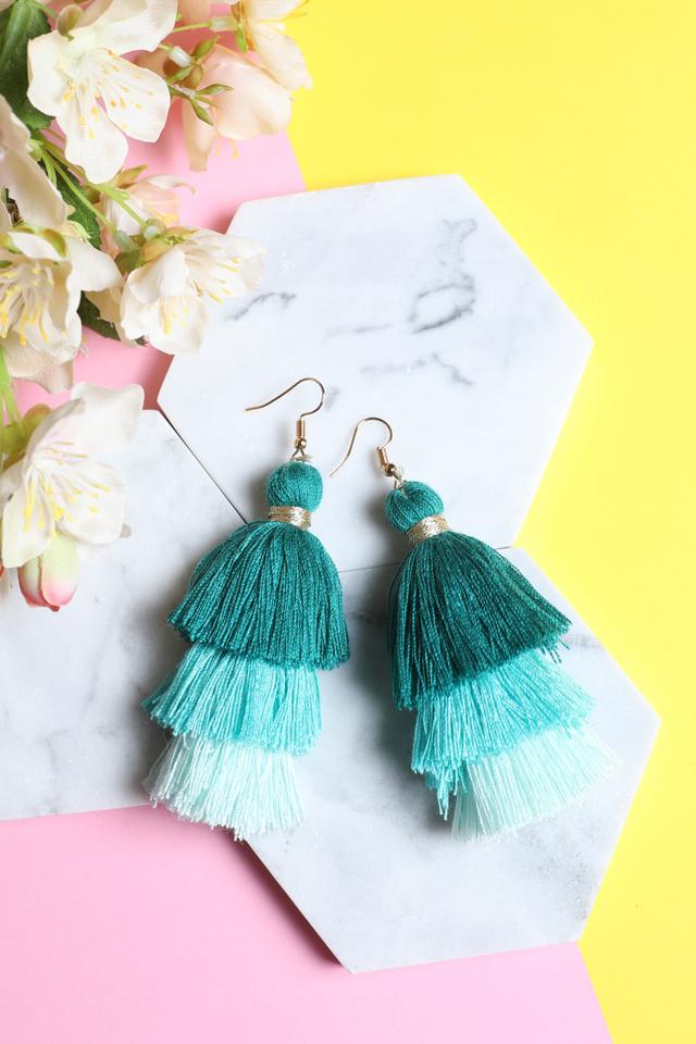Tri Layered Tassel Earrings (Green)