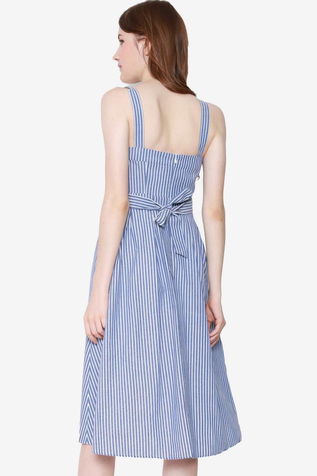 Lift My Spirits Button Dress (Blue Stripes)