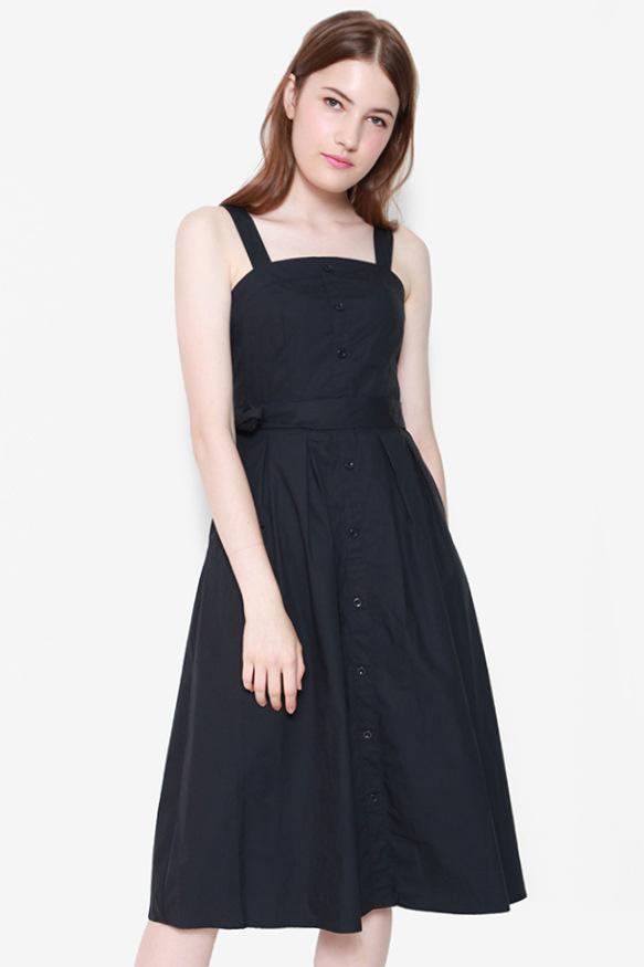 Lift My Spirits Button Dress (Midnight Navy)