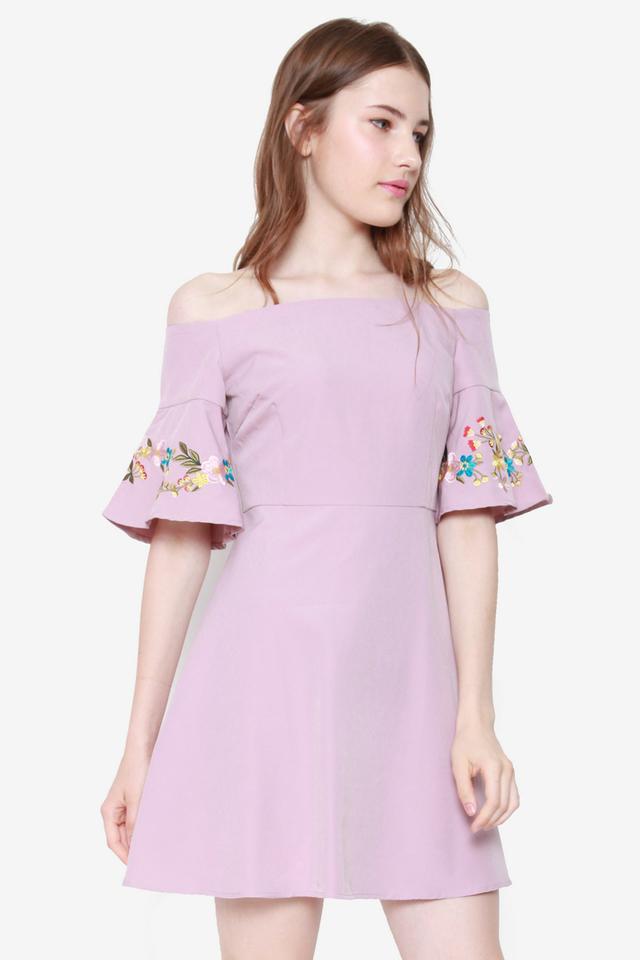 Maribel Trumpet Sleeve Off Shoulder Dress (Pink)