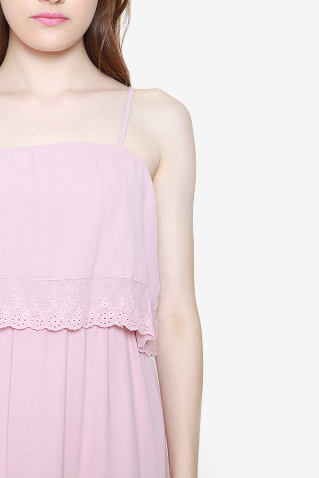 Lucille Tier Eyelet Dress (Pink)