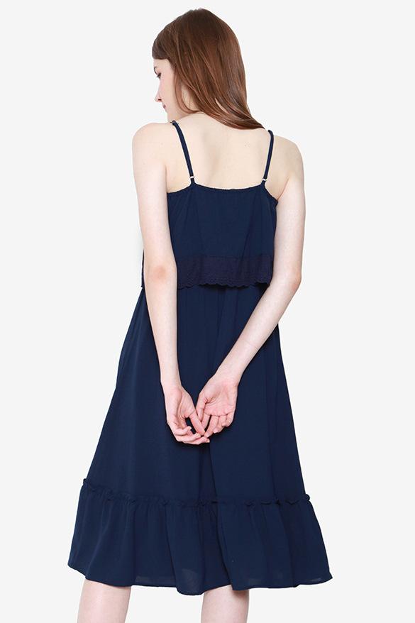 Lucille Tier Eyelet Dress (Navy Blue)