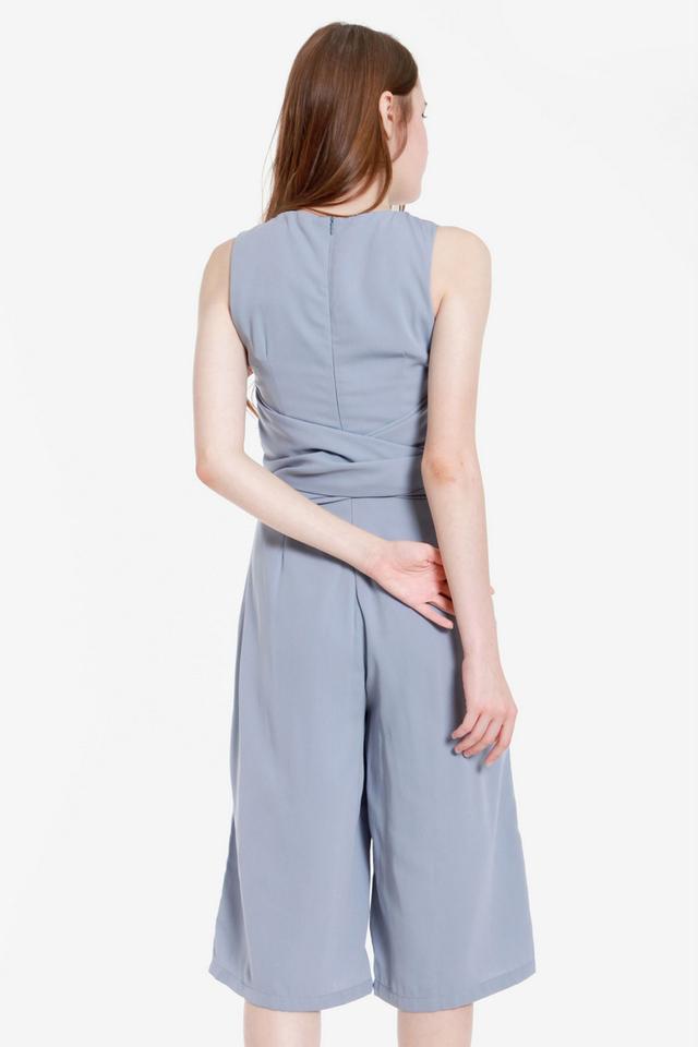 Tonisha Multi Tie Sash Culotte Jumpsuit (Ash Blue)