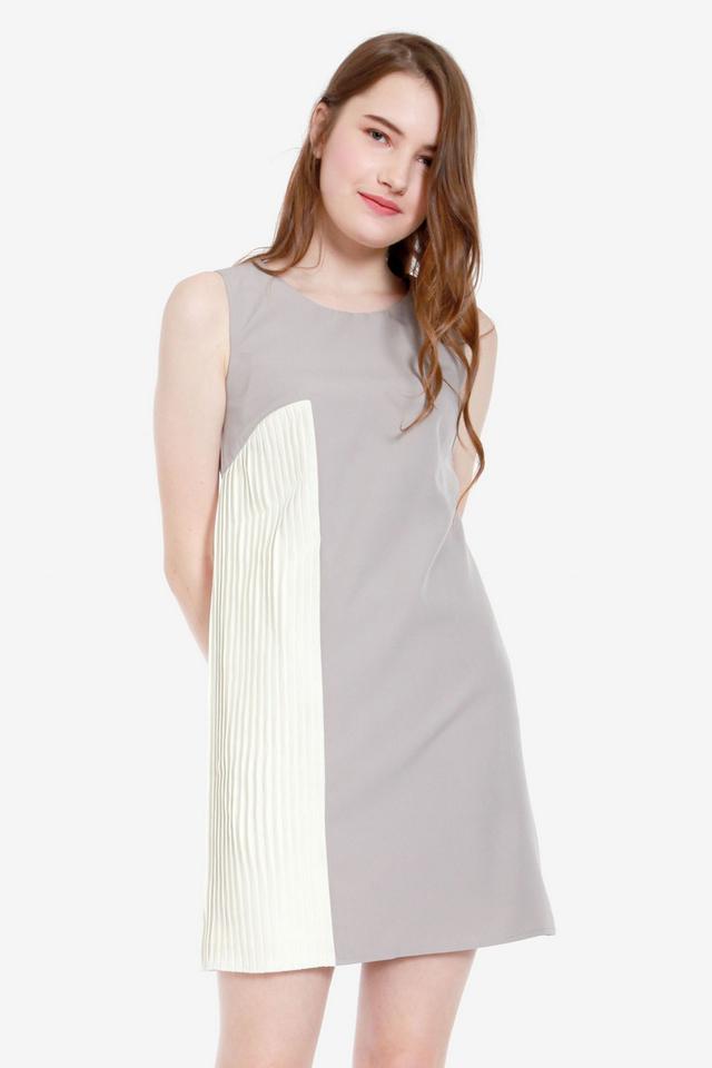 Alanna Side Pleat Dress (Grey)