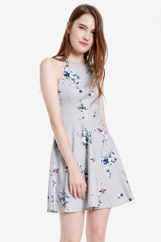 Julian Floral Dress (Grey)