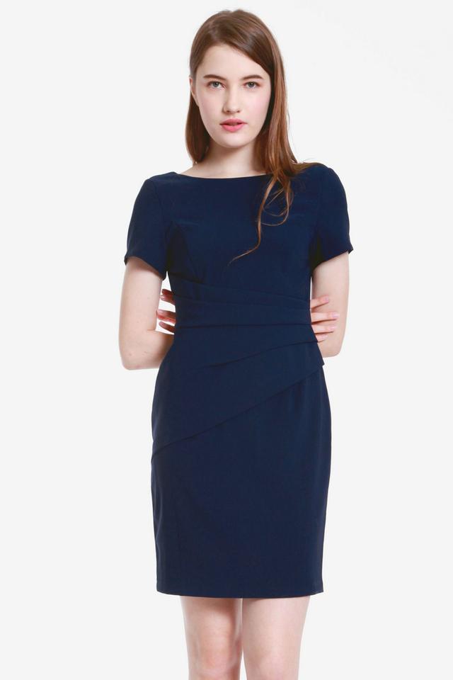 Milne Sleeved Work Dress (Navy Blue)