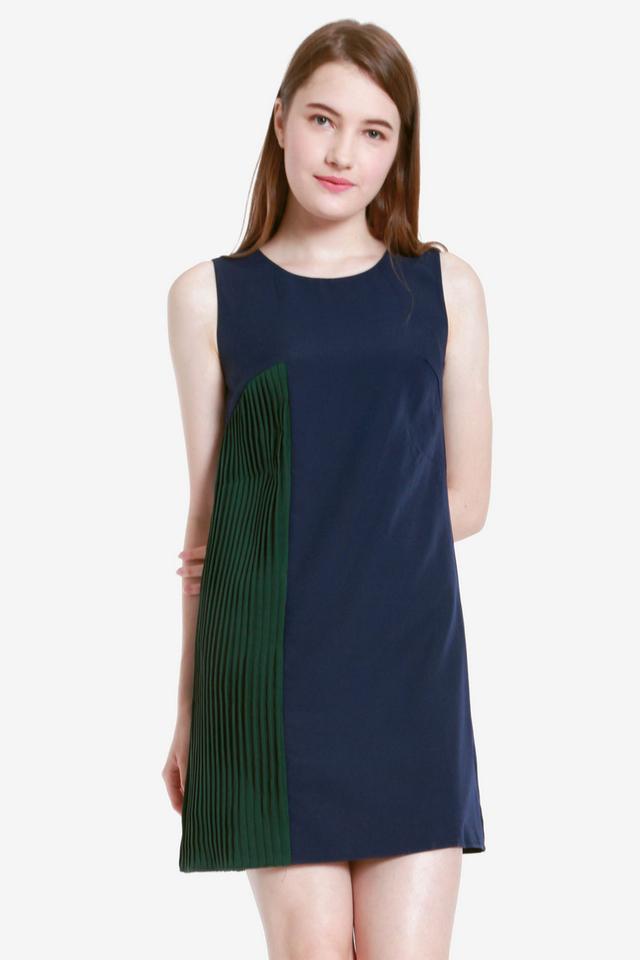 Alanna Side Pleat Dress (Navy Blue)