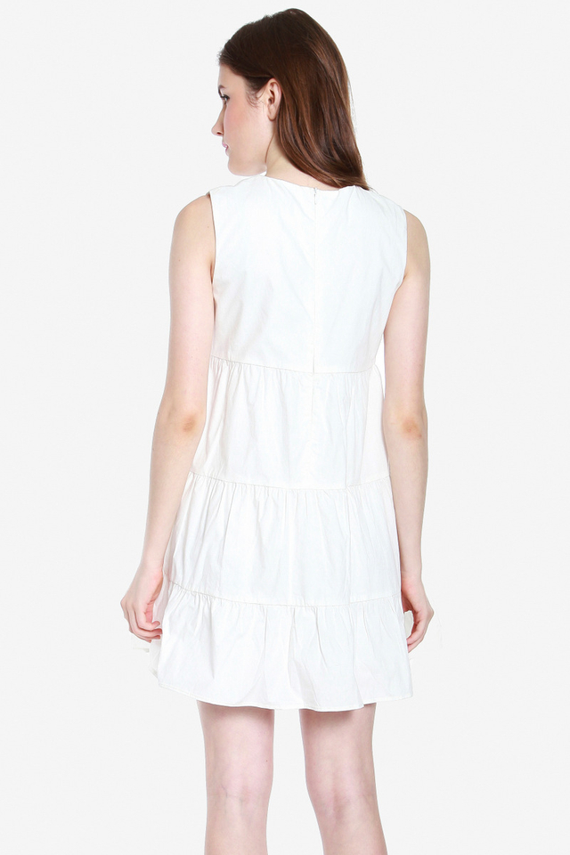Michelina Embroidery Tier Dress (White)