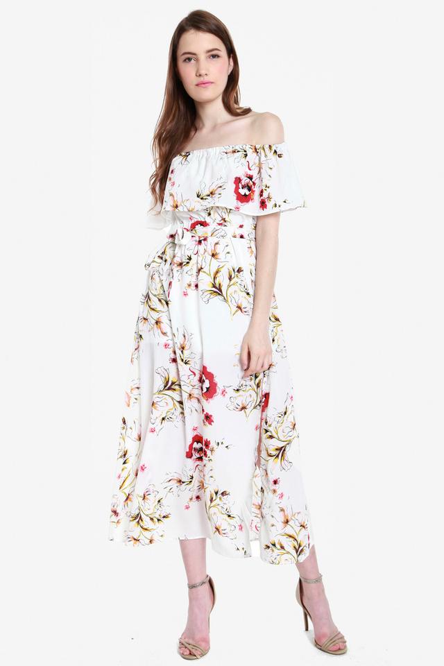 Mazie Two Way Off-shoulder Slit Maxi Dress (White)