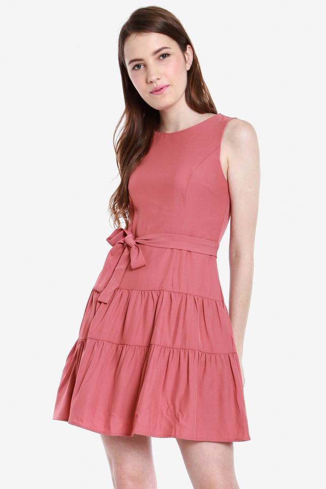 Ciera Multi Tier Dress (Tango pink)