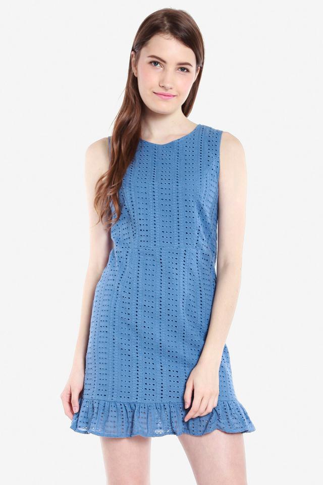 Janssen Eyelet Ruffle Hem Dress (Blue)