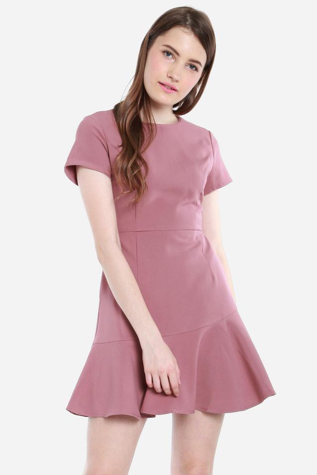 Zaria Flute Hem Dress (Pink)