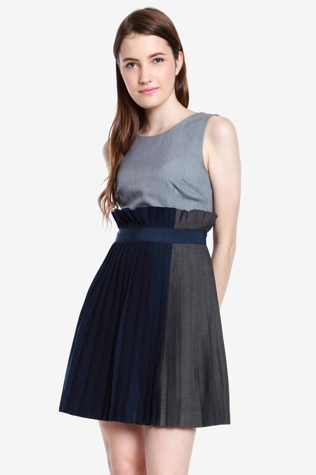 Yadira Pleated Paperbag Dress (Grey)