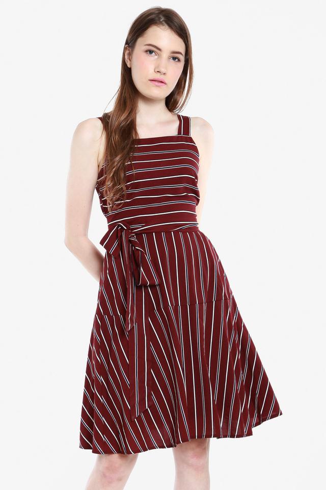 Blanchette Multi Sash Dress (Wine)