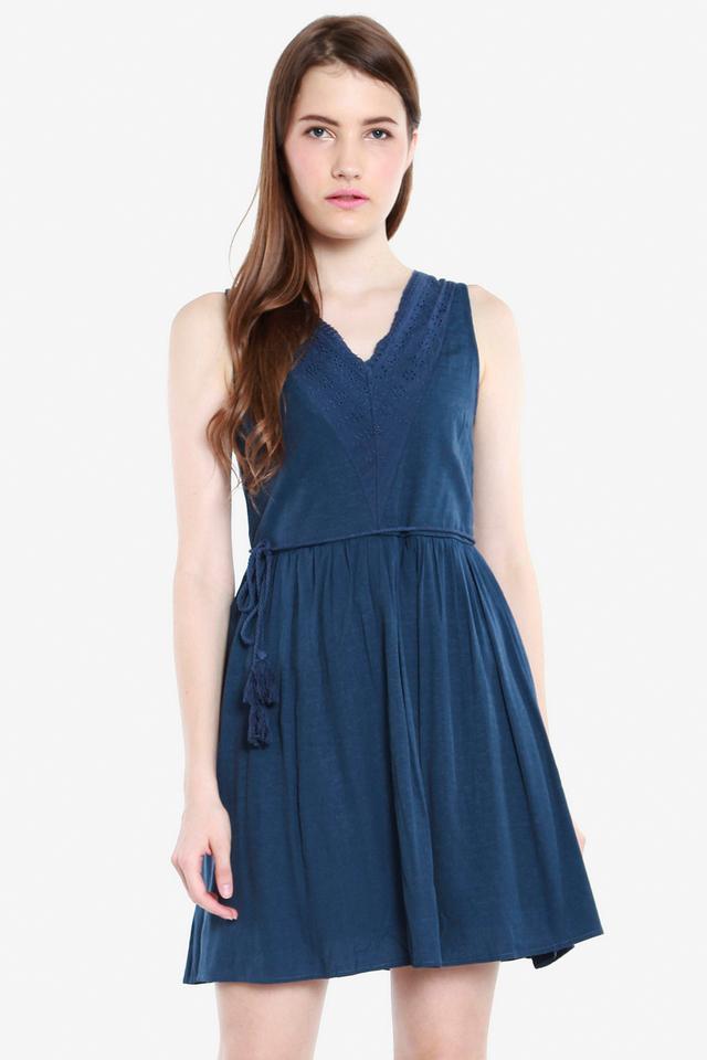 Jemma Eyelet Bib Tassel Dress (Dark Blue)