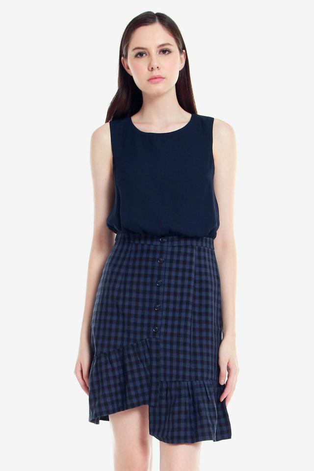 Gretchen Button Asymmetrical Dress (Blue)