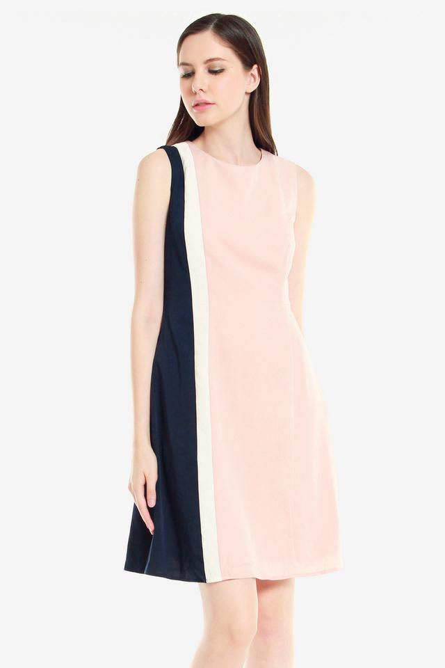 Alissa Panel Sheath Dress (Pink)