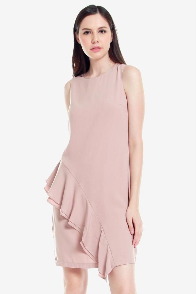 Andre Side Ruffle Dress (Pink)