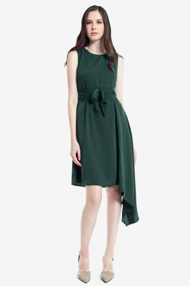 Ressie Asymmetrical Sash Dress (Green)