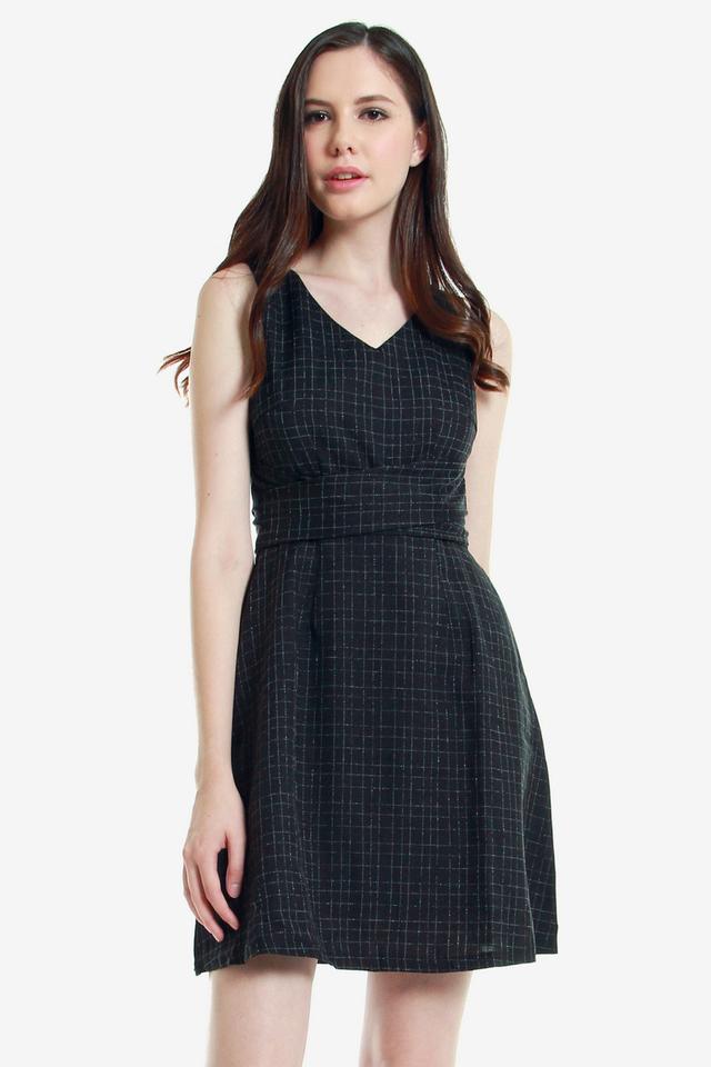 Hertha V Neck Fit and Flare Dress (Black)