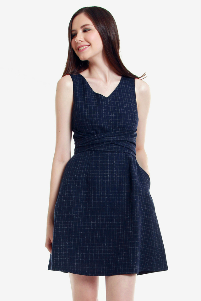 Hertha V Neck Fit and Flare Dress (Blue)