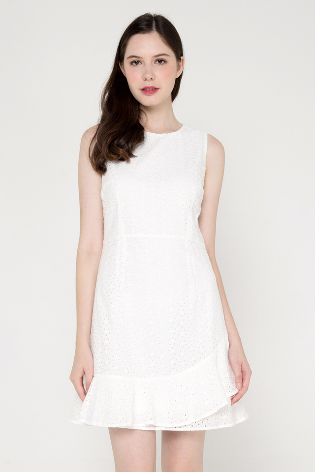 Larson Eyelet Flutter Hem Dress (White)