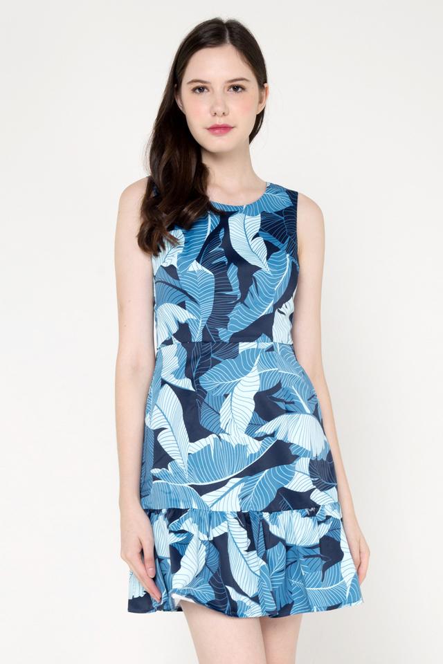 Louie Floral Ruffle Hem Dress (Blue)