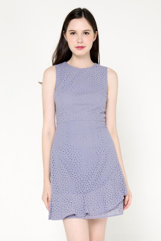 Larson Eyelet Flutter Hem Dress (Ash Lilac)