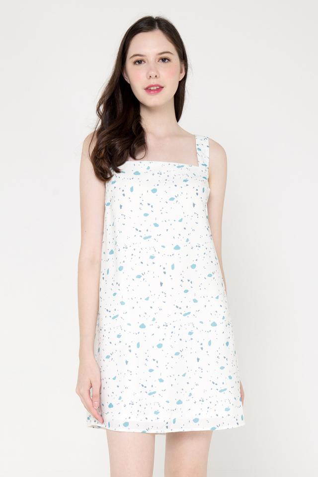 Faviola Square Neck Slip Dress (Blue)