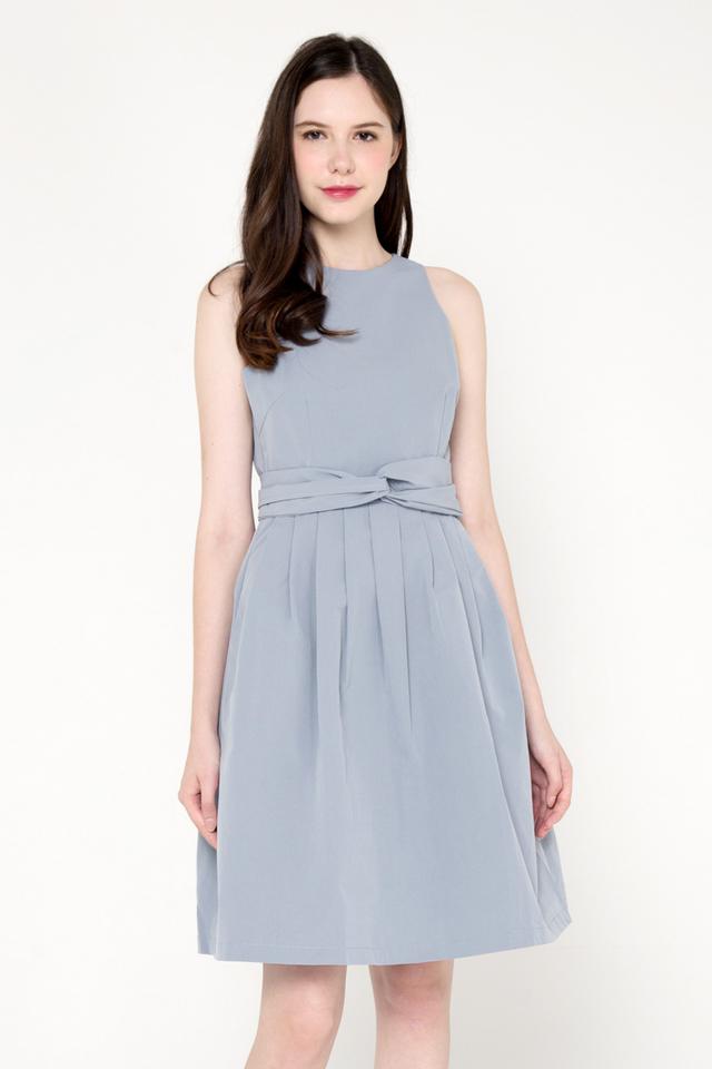 Savannah Sash Pleat Dress (Ash Blue)