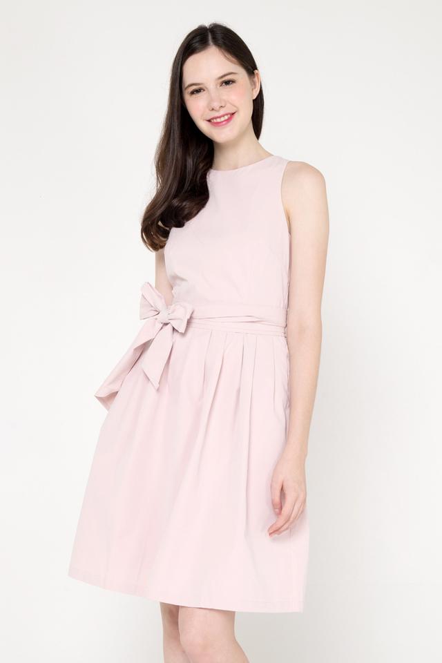 Savannah Sash Pleat Dress (Dusty Pink)