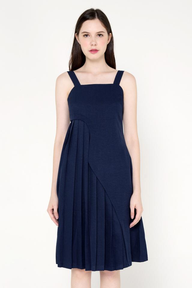 Argelia Curve Side Pleat Dress (Navy Blue)