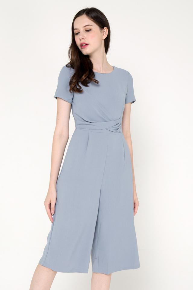 Shaunda Sleeved Culottes Romper (Ash Blue)