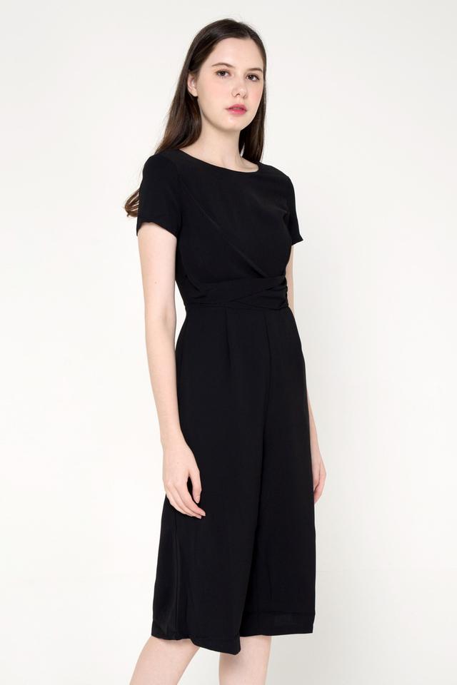 Shaunda Sleeved Culottes Romper (Black)