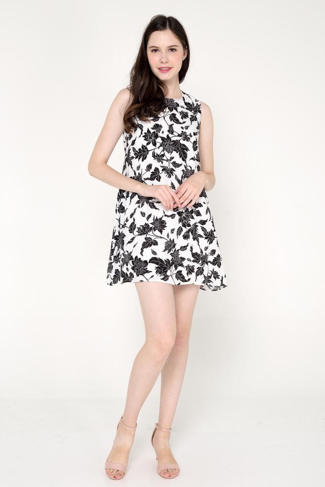 Shavon Floral Trapeze Dress (White)