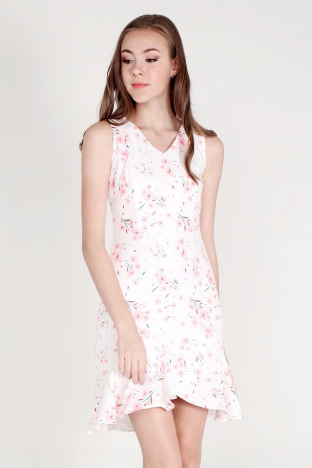 Mirian V Neck Flutter Hem Dress