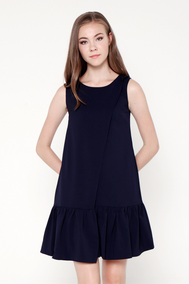 Arrington Overlap Flutter Hem Dress (Midnight Blue)