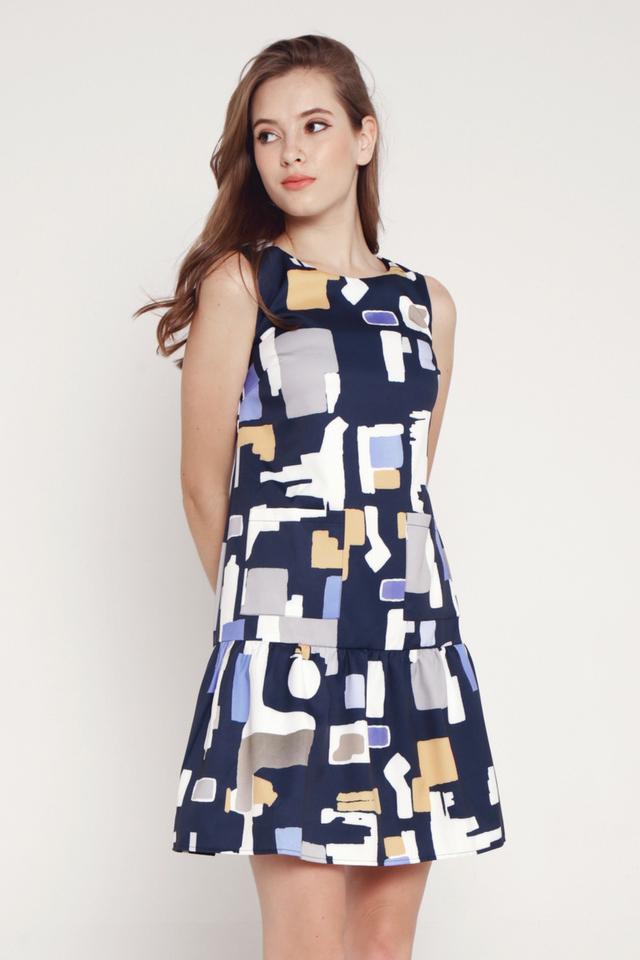 Chavis Drop Waist Pocket Dress (Navy Blue)