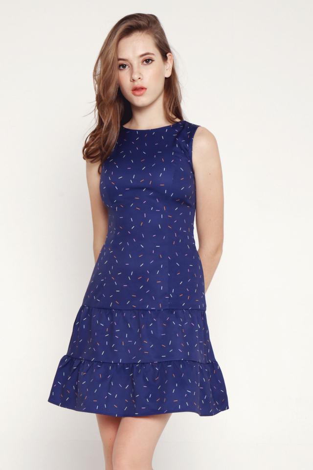 Jull Confetti Tier Pocket Dress (Blue)