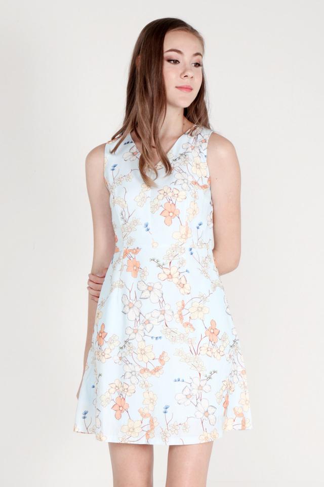Jarvis V Neck Floral Dress (Blue)