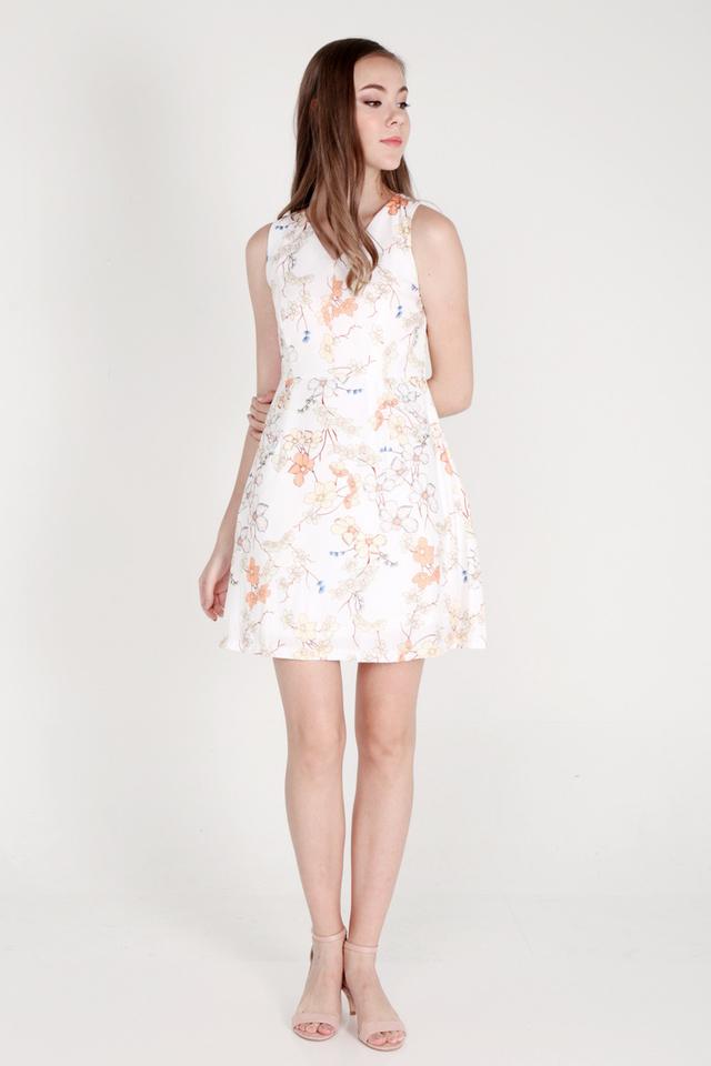 Jarvis V Neck Floral Dress (White)