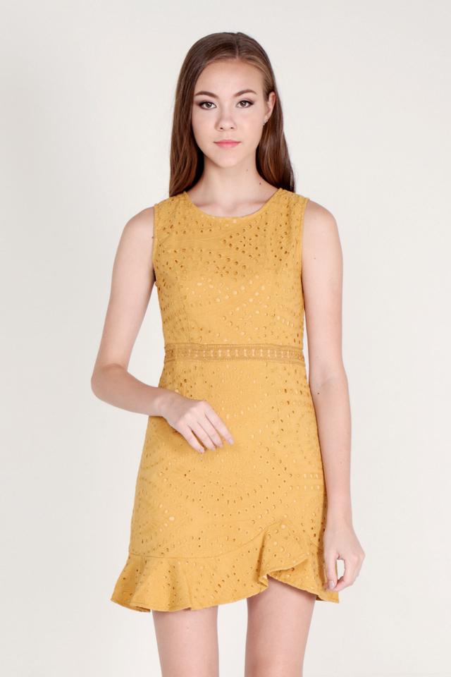 Kathe Eyelet Flutter Hem Dress (Mustard)