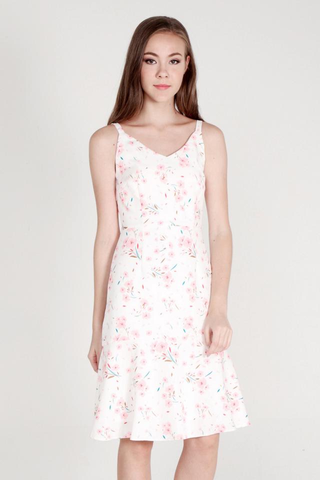 Nelly Spaghetti Flutter Hem Dress (Pink)