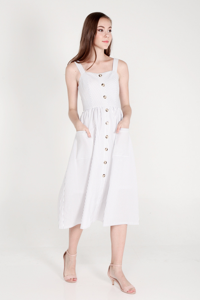 Whitley Spaghetti Midi Dress (White)