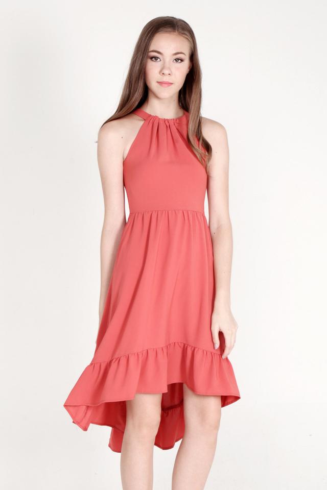 Haydee Halter Neck Fishtail Dress (Salmon Pink)