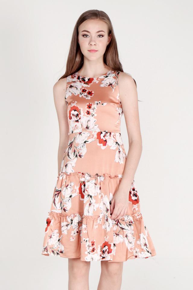 Salley Tier Ruffle Floral Dress (Orange)