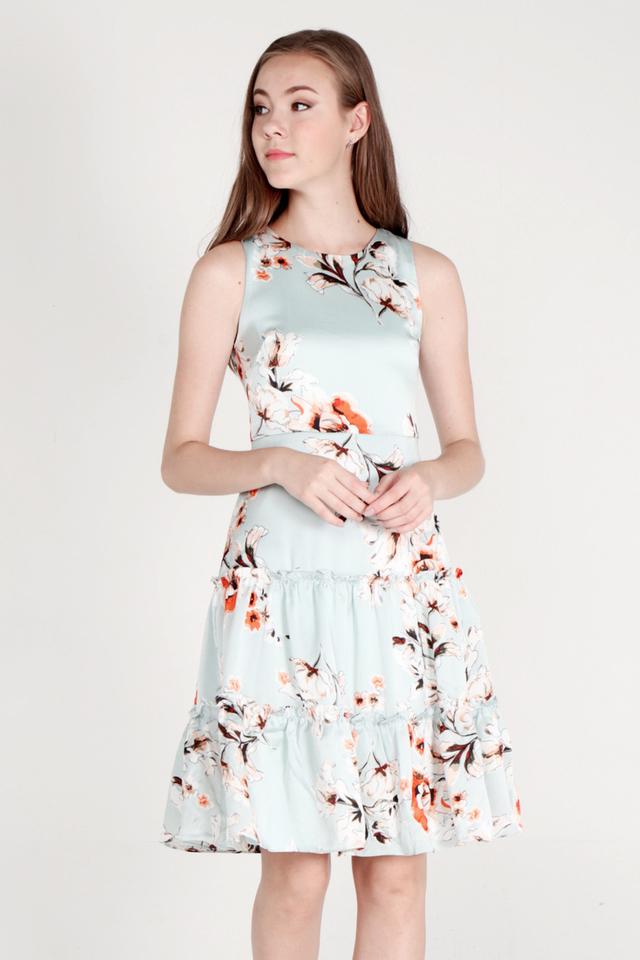 Salley Tier Ruffle Floral Dress (Green)