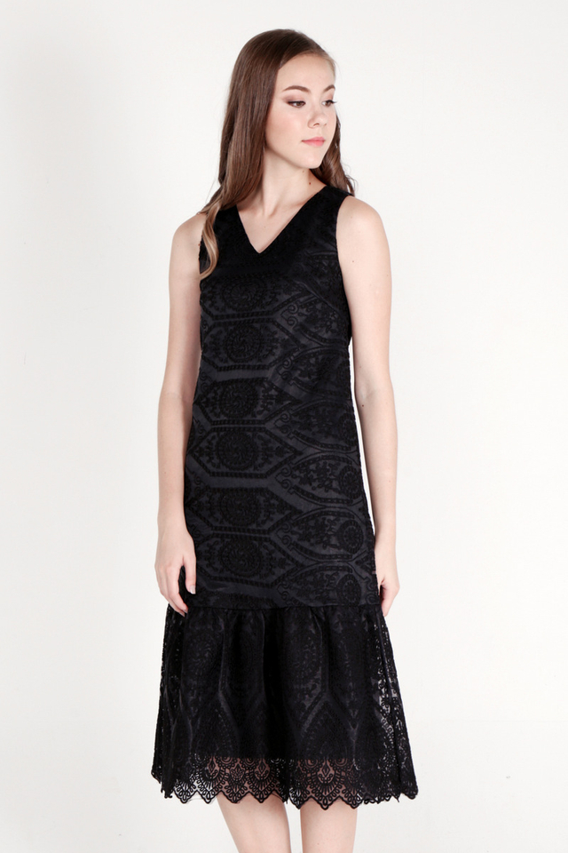 Ozelle Organza Midi Dress (Black)